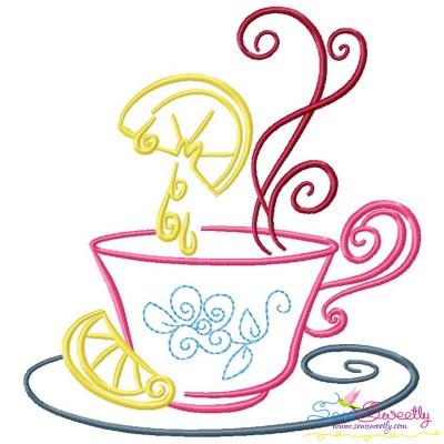 Color Satin Stitches Tea Time-1 Embroidery Design