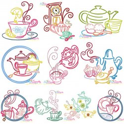 Color Satin Stitches Tea Time Embroidery Design Bundle