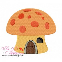 Mushroom House Embroidery Design