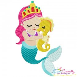Baby Mermaid-3 Embroidery Design
