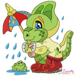 Rainy Baby Dinosaur-10 Embroidery Design