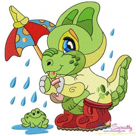 Rainy Baby Dinosaur-10 Embroidery Design Pattern- Category- Animals Designs- 1
