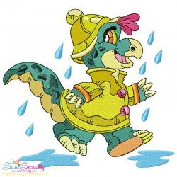 Rainy Baby Dinosaur-9 Embroidery Design