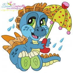 Rainy Baby Dinosaur-7 Embroidery Design