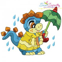 Rainy Baby Dinosaur-5 Embroidery Design