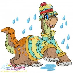 Rainy Baby Dinosaur-3 Embroidery Design