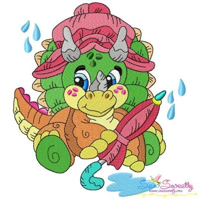 Rainy Baby Dinosaur-2 Embroidery Design Pattern- Category- Animals Designs- 1