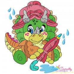 Rainy Baby Dinosaur-2 Embroidery Design