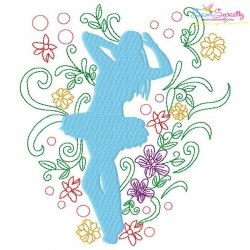 Spring Flowers Dancing Girl-10 Embroidery Design Pattern- Category- Music And Dance Designs- 1