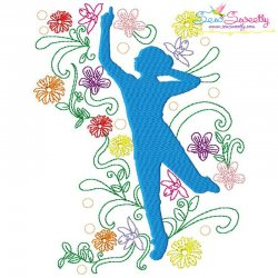 Spring Flowers Dancing Girl-9 Embroidery Design Pattern- Category- Music And Dance Designs- 1