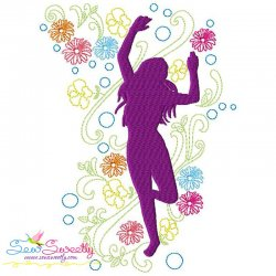 Spring Flowers Dancing Girl-8 Embroidery Design