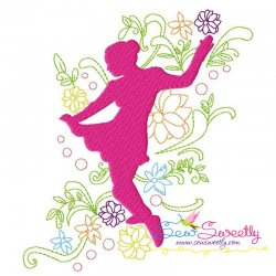 Spring Flowers Dancing Girl-7 Embroidery Design Pattern- Category- Music And Dance Designs- 1