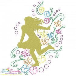 Spring Flowers Dancing Girl-6 Embroidery Design Pattern- Category- Music And Dance Designs- 1