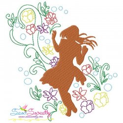 Spring Flowers Dancing Girl-5 Embroidery Design Pattern- Category- Music And Dance Designs- 1