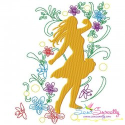 Spring Flowers Dancing Girl-4 Embroidery Design Pattern- Category- Music And Dance Designs- 1