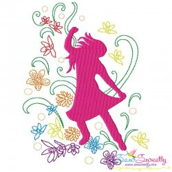 Spring Flowers Dancing Girl-3 Embroidery Design