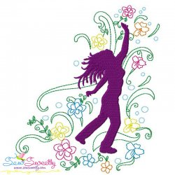 Spring Flowers Dancing Girl-2 Embroidery Design Pattern- Category- Music And Dance Designs- 1