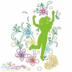 Spring Flowers Dancing Girl-1 Embroidery Design Pattern- Category- Music And Dance Designs- 1