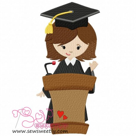 Graduation Girl-3 Embroidery Design Pattern- Category- Back To School Designs- 1