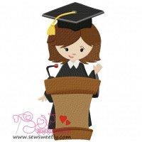 Graduation Girl-3 Embroidery Design