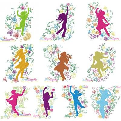 Spring Flowers Dancing Girls Embroidery Design Bundle Pattern- Category- Embroidery Design Bundles- 1