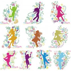 Spring Flowers Dancing Girls Embroidery Design Bundle
