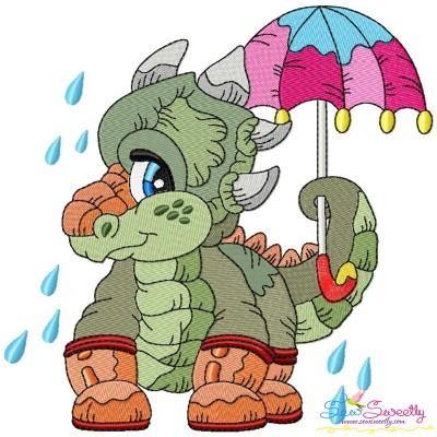 Rainy Baby Dinosaur-4 Embroidery Design Pattern- Category- Animals Designs- 1
