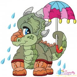 Rainy Baby Dinosaur-4 Embroidery Design