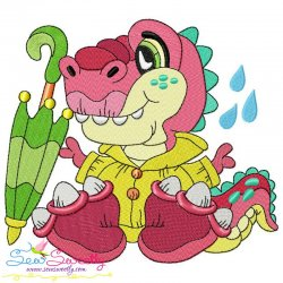 Rainy Baby Dinosaur-1 Embroidery Design Pattern- Category- Animals Designs- 1