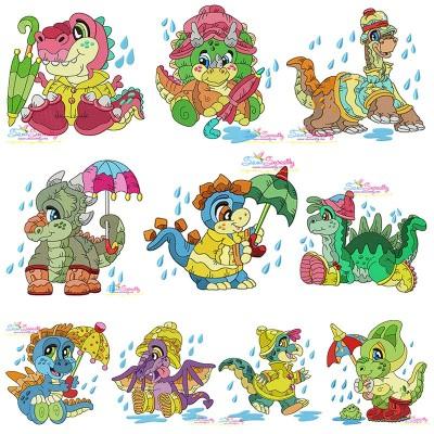 Rainy Baby Dinosaurs Embroidery Design Bundle Pattern- Category- Embroidery Design Bundles- 1