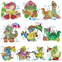 Rainy Baby Dinosaurs Embroidery Design Bundle