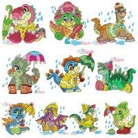 Rainy Baby Dinosaurs Embroidery Design Bundle