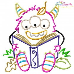 Reading in Fall Monster-7 Embroidery Design