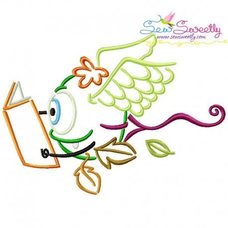 Reading in Fall Monster-6 Embroidery Design Pattern- Category- Monsters And Dragons- 1