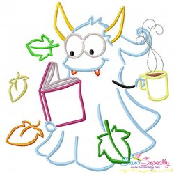 Reading in Fall Monster-5 Embroidery Design Pattern- Category- Monsters And Dragons- 1