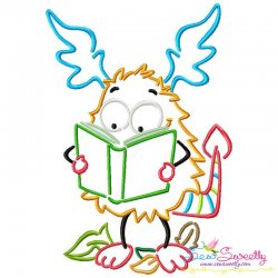 Reading in Fall Monster-3 Embroidery Design