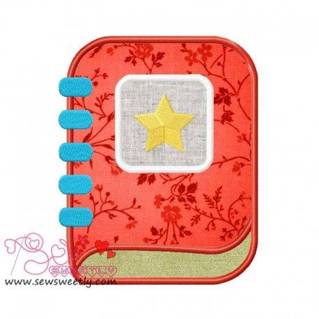 School Diary Applique Design