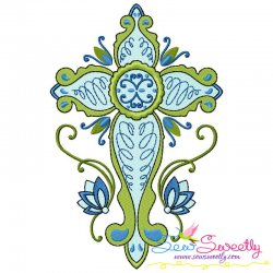Floral Cross-10 Machine Embroidery Design