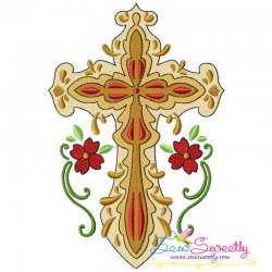 Floral Cross-9 Machine Embroidery Design