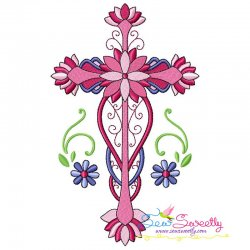 Floral Cross-6 Machine Embroidery Design Pattern- Category- Religious Designs- 1