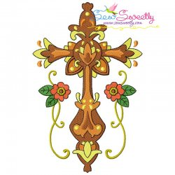 Floral Cross-7 Machine Embroidery Design Pattern- Category- Religious Designs- 1