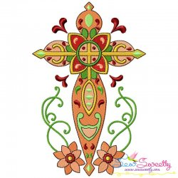 Floral Cross-4 Machine Embroidery Design Pattern- Category- Religious Designs- 1