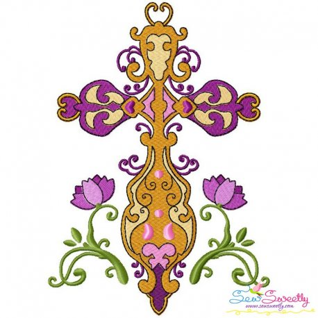 Floral Cross-5 Machine Embroidery Design Pattern- Category- Religious Designs- 1