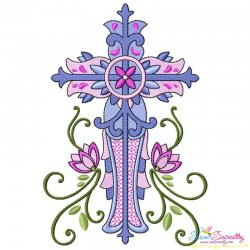 Floral Cross-2 Machine Embroidery Design Pattern- Category- Religious Designs- 1