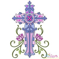 Floral Cross-2 Machine Embroidery Design