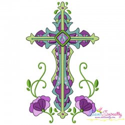 Floral Cross-3 Machine Embroidery Design Pattern- Category- Religious Designs- 1