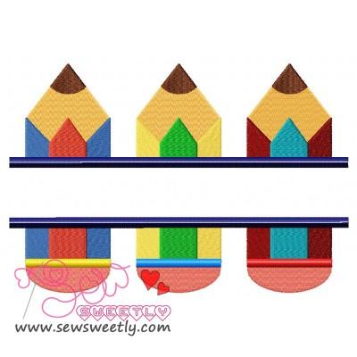 Split Pencils Embroidery Design