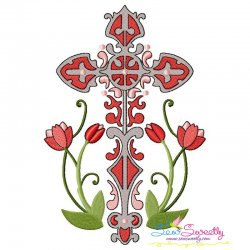 Floral Cross-1 Machine Embroidery Design Pattern- Category- Religious Designs- 1