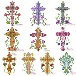 Floral Crosses Machine Embroidery Design Bundle