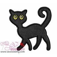 Black Cat Applique Design